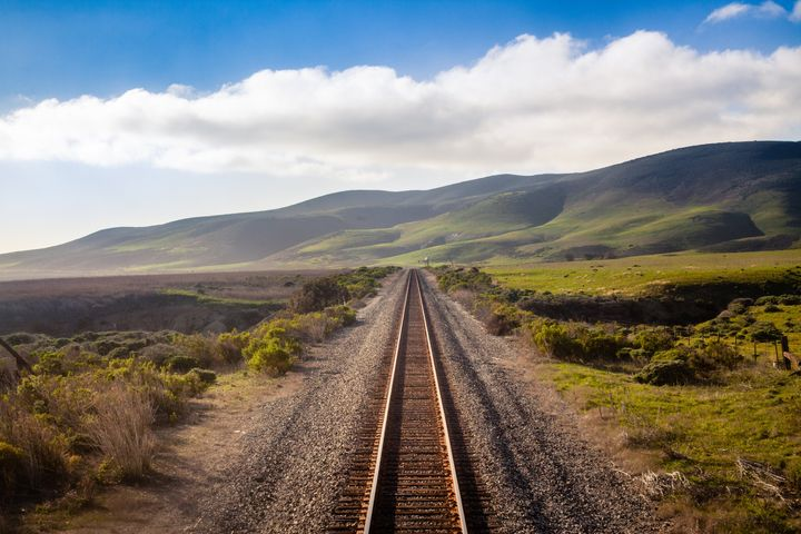 The Coast Starlight travels these tracks near Lompoc.