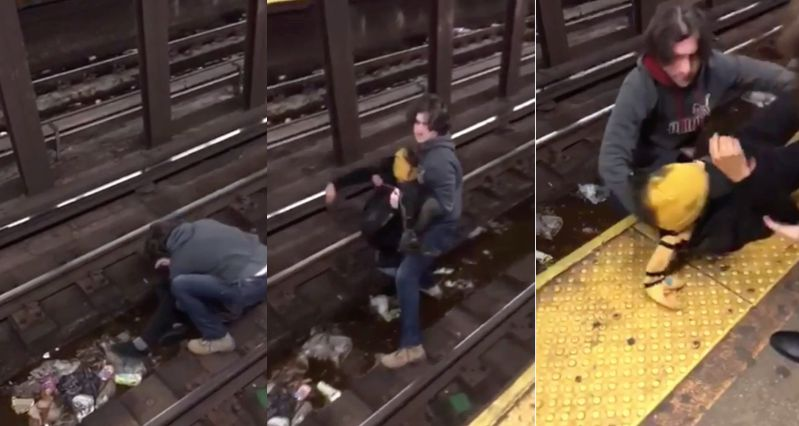 A 29-year-old man is being hailed as a hero after rescuing someone off the New York subway tracks.