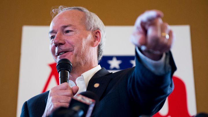 Arkansas Governor Asa Hutchinson speaks at a campaign rally in 2014.