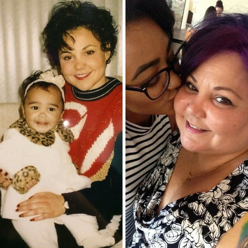 Francesca Pfeiffer and her mom Caridad back in the day and today.
