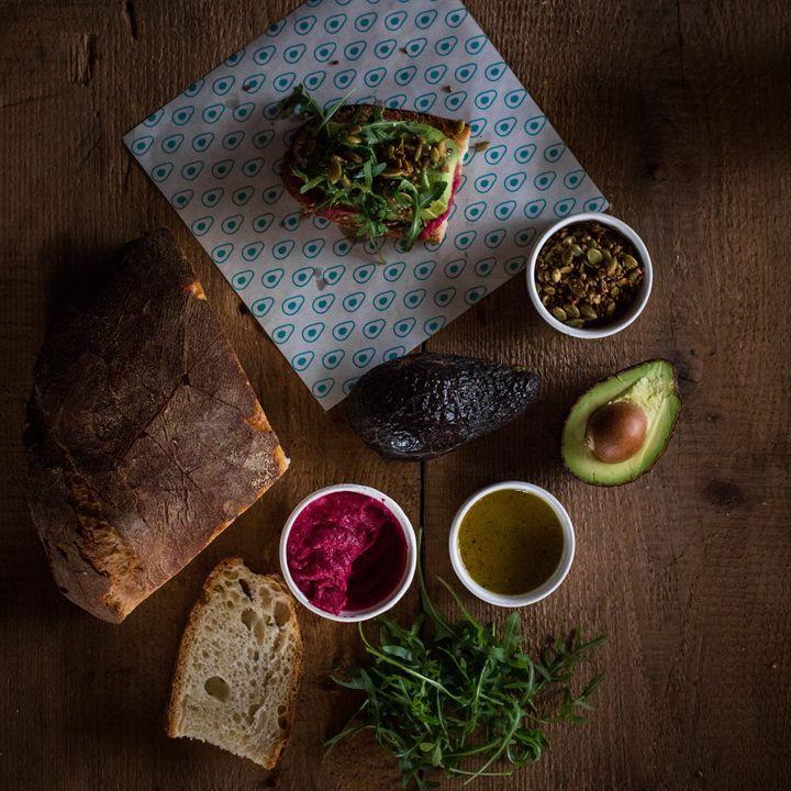 Avocaderia's beet hummus toast.