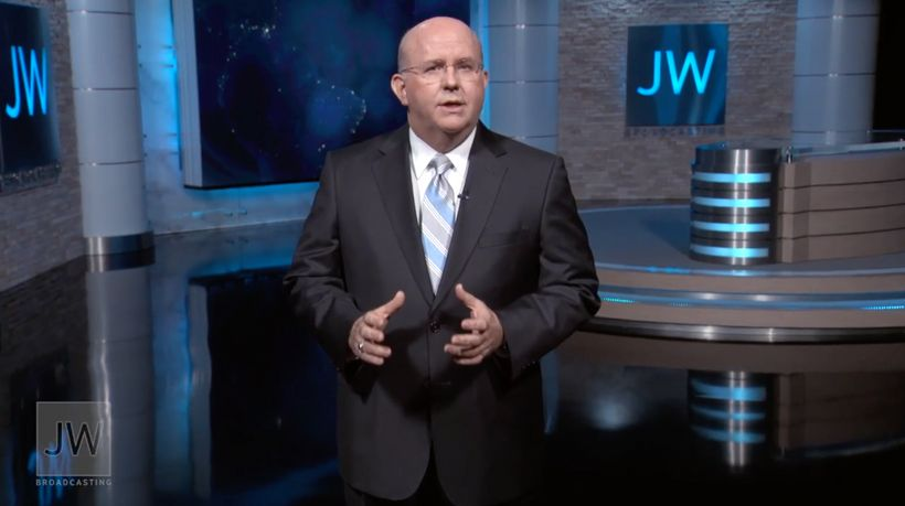 Mark Sanderson, of the Governing Body of Jehovah's Witnesses, rallying believers to action in a recent video