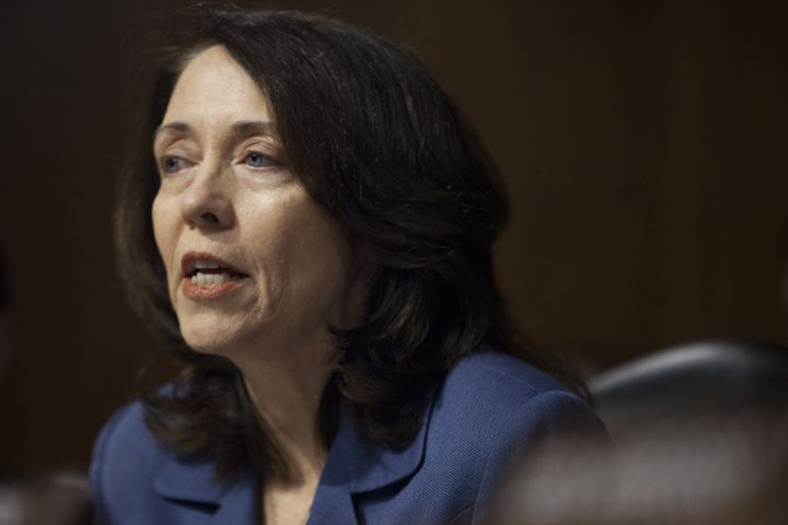 Sen. Maria Cantwell (D-Wash.), speaks during a Senate Energy and Natural Resources Committee confirmation hearing o