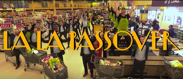 """Kosher food free of grain/All these prices, just insane,"" sing Y-Studs members in the group's ""La La Land"" Passover rem"