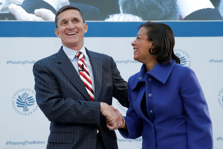 White House National Security Adviser Susan Rice (R) and former Defense Intelligence Agency Director retired Army Lt. Gen. Mi