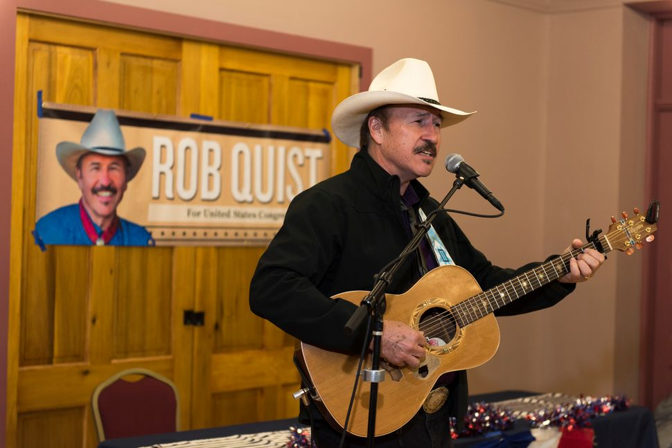 Rob Quist campaigns on March 10 in Livingston, Montana.