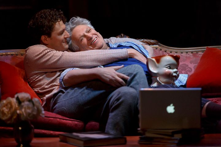 """Gabriel Ebert (left) and Harvey Fierstein star in """"Gently Down the Stream,"""" which opens April 5 at New York's Public Theater."""