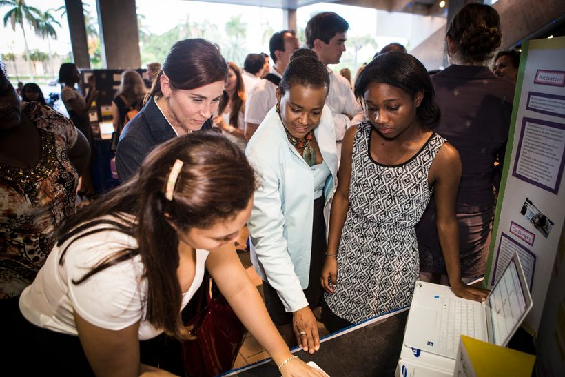 Verizon's Rose Kirk (third from left) at Girls Who Code