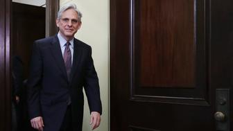 WASHINGTON, DC - APRIL 21: Supreme Court nominee Merrick Garland arrives in the office of Sen. Tim Kaine (D-VA) before a meeting in the Russell Senate Office Building on Capitol Hill April 21, 2016 in Washington, DC. President Barack Obama nominated Garland to replace Associate Justice Antonin Scalia who passed away earlier this year. (Photo by Chip Somodevilla/Getty Images)