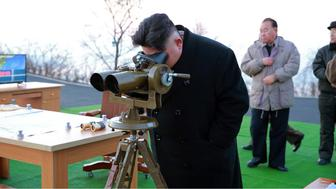 This undated picture released by North Korea's Korean Central News Agency (KCNA) via KNS on March 7, 2017 shows North Korean leader Kim Jong-Un supervising the launching of four ballistic missiles by the Korean People's Army (KPA) during a military drill at an undisclosed location in North Korea.  Nuclear-armed North Korea launched four ballistic missiles on March 6 in another challenge to President Donald Trump, with three landing provocatively close to America's ally Japan. / AFP PHOTO / KCNA VIA KNS / STR / South Korea OUT / REPUBLIC OF KOREA OUT   ---EDITORS NOTE--- RESTRICTED TO EDITORIAL USE - MANDATORY CREDIT 'AFP PHOTO/KCNA VIA KNS' - NO MARKETING NO ADVERTISING CAMPAIGNS - DISTRIBUTED AS A SERVICE TO CLIENTS THIS PICTURE WAS MADE AVAILABLE BY A THIRD PARTY. AFP CAN NOT INDEPENDENTLY VERIFY THE AUTHENTICITY, LOCATION, DATE AND CONTENT OF THIS IMAGE. THIS PHOTO IS DISTRIBUTED EXACTLY AS RECEIVED BY AFP.  /         (Photo credit should read STR/AFP/Getty Images)