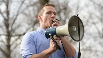 UNIVERSITY CITY, MO - FEBRUARY 22: Missouri Governor Eric Greitens addresses the crowd at Chesed Shel Emeth Cemetery on February 22, 2017 in University City, Missouri. Greitens and US Vice President Mike Pence were on hand to speak to over 300 volunteers who helped cleanup after the recent vandalism. Since the beginning of the year, there has been a nationwide spike in incidents including bomb threats at Jewish community centers and reports of anti-semitic graffiti. (Photo: Michael Thomas/ Getty Images)