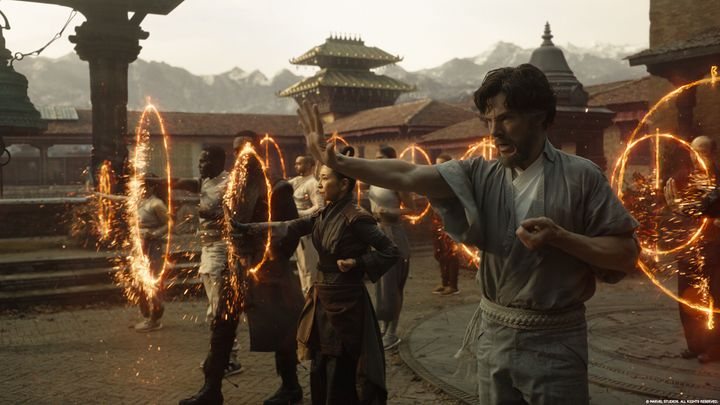 Dr. Strange (played by Benedict Cumberbatch) trains in the supernatural arts in Tibet.
