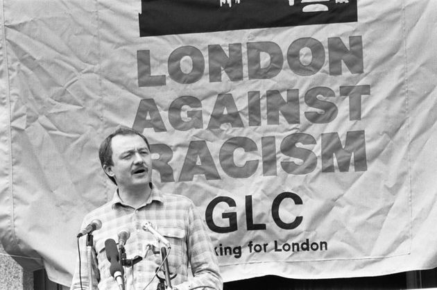 Ken Livingstone addressing the crowd at the London Against Racism rally in