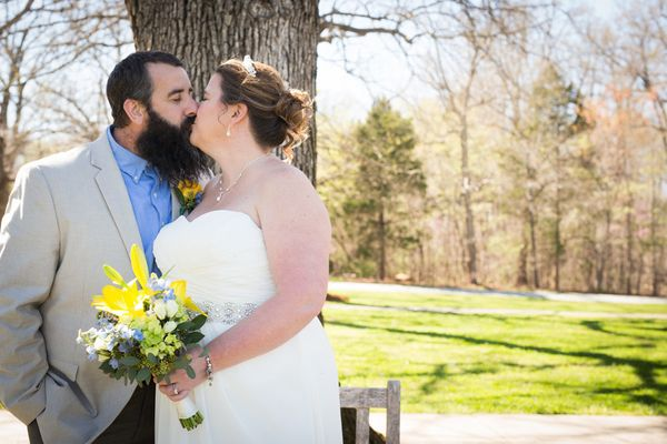 """""""Jackie and Ben celebrated 20 years of being married with a reaffirmation of their vows at the Eno Presbyterian Church in Ced"""