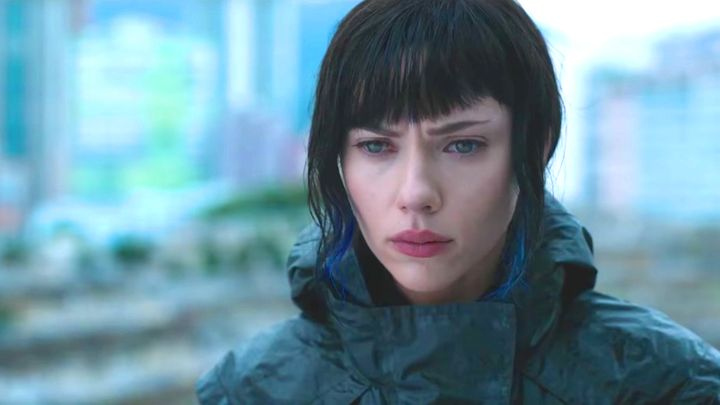 The Major (played by Scarlett Johansson) finds out that she is actually Major Motoko Kusanagi in <em>Ghost in the Shell.</em>