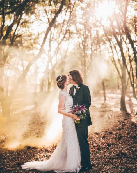 """Becca and Brad tied the knot in the most gorgeous woodland ceremony. It was as if all the forest and its creatures were in h"