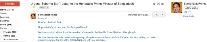 Dr. Samia Israt's (Prime Minster Hasina's delegate) email to the author.