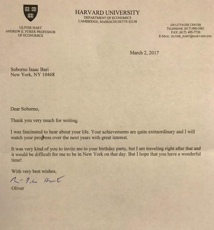 Nobel Laureate Dr. Oliver Hart letter to Isaac.