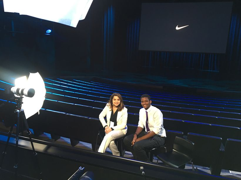 LAUNCH Storytellers Matt Scott and Davar Ardalan at Nike World Headquarters for the LAUNCH Circular Innovation Summit.
