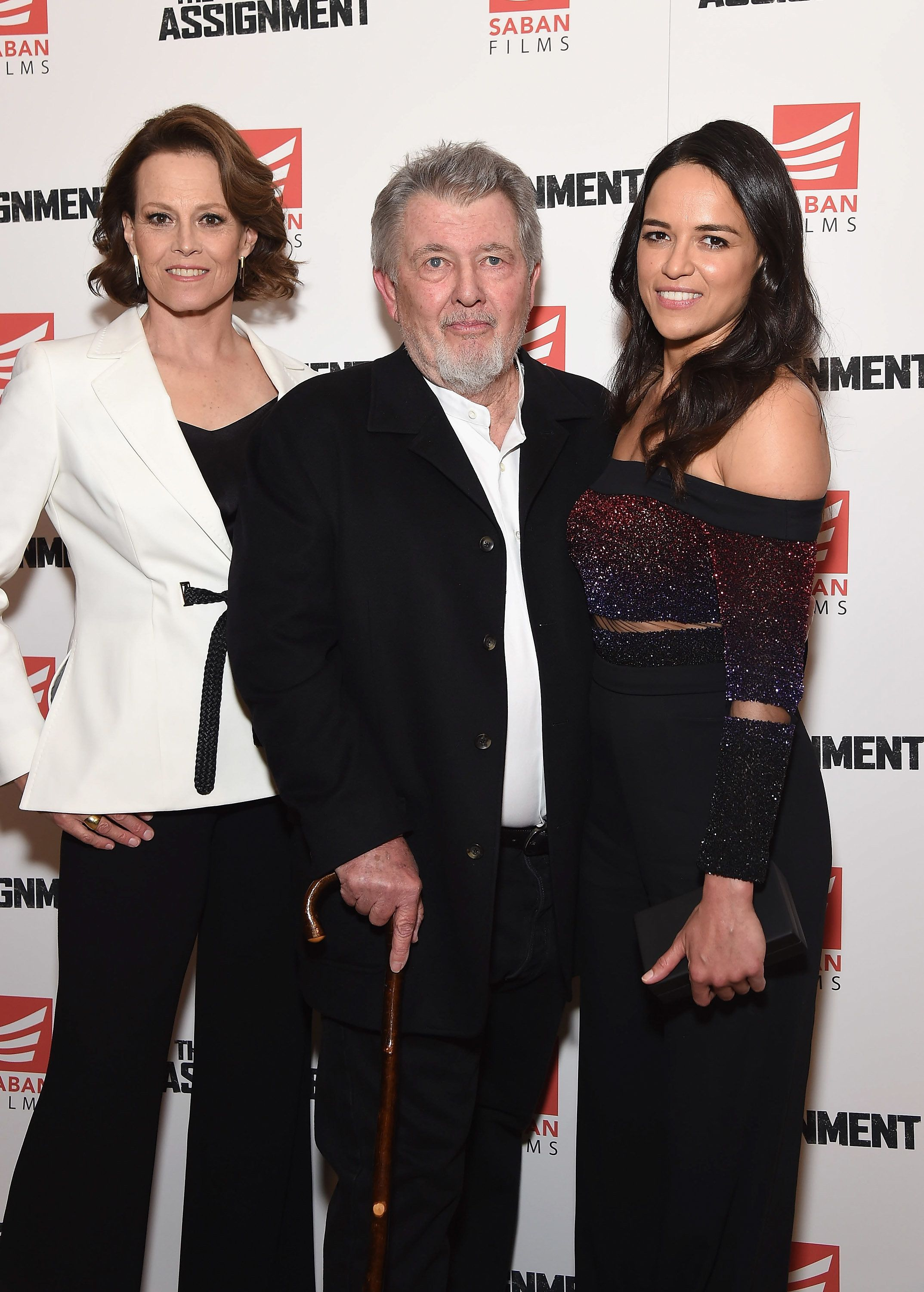 NEW YORK, NY - APRIL 03:  Director/writer Walter Hill (C) and actors Sigourney Weaver (L) and Michelle Rodriguez attend 'The Assignment' New York screening at the Whitby Hotel on April 3, 2017 in New York City.  (Photo by Gary Gershoff/WireImage)