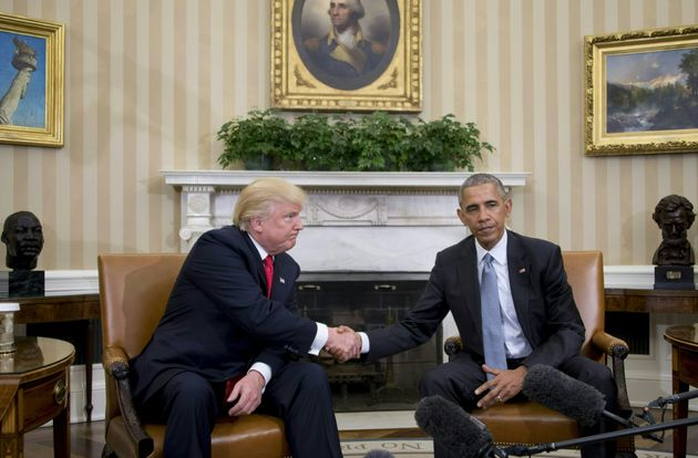 Donald Trump and Barack Obama shake hands last