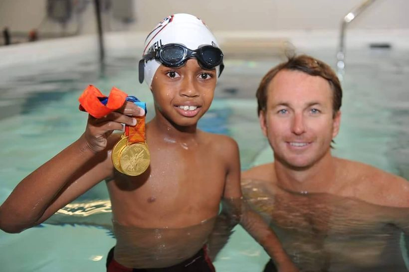 Aaron Piersol with Shark Heart (aka C. Howell) at Swimlabs ENCINITAS, CA - World Record Holder and Olympic Gold Medalist Swim