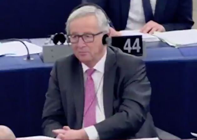 Jean Claude Juncker,President of the European Commission, sat in steely silence during the