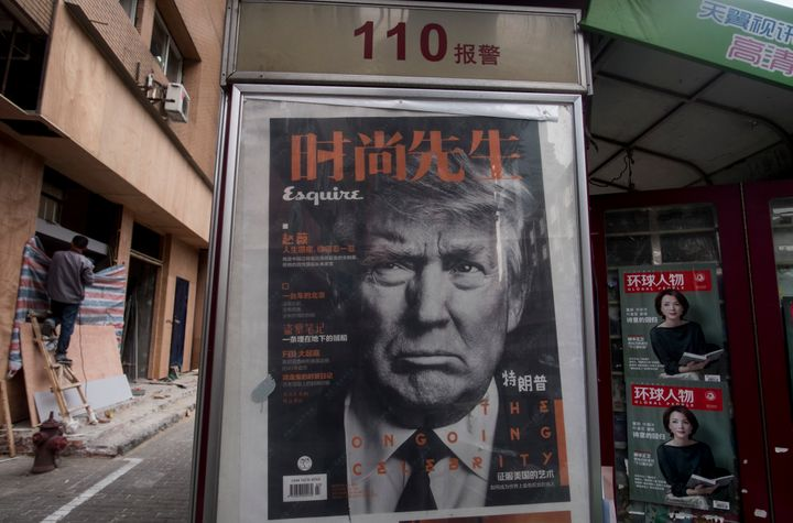 A newsstand with a photo of Donald Trump in Shanghai on April 5.