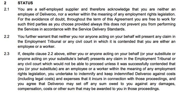 Deliveroo's contract specifically precludes riders from challenging their employment status in