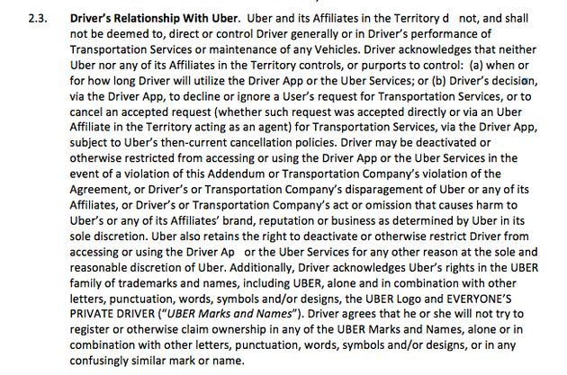 Uber states those signing its agreement accept the firm does not 'direct or control Driver (sic)