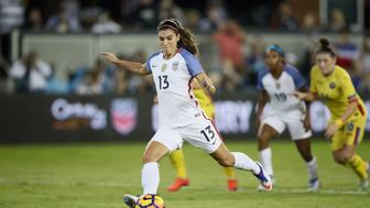 SAN JOSE, CA - NOVEMBER 10:  Alex Morgan #13 of United States of America in action against Romania at Avaya Stadium on November 10, 2016 in San Jose, California.  (Photo by Ezra Shaw/Getty Images)
