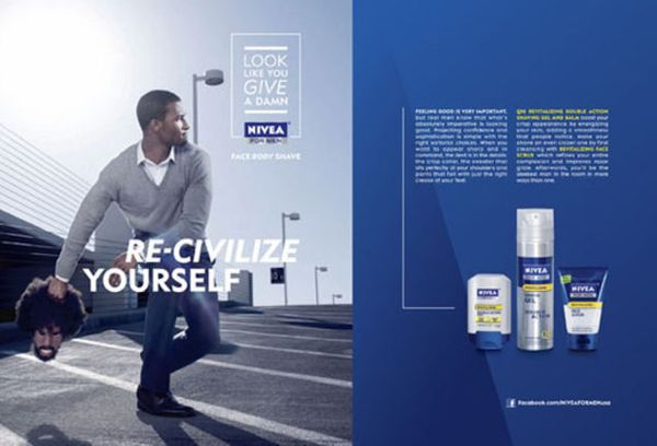 In 2011, Nivea released a magazine ad featuring a clean-shaven black man preparing to throw a black mask that sported an