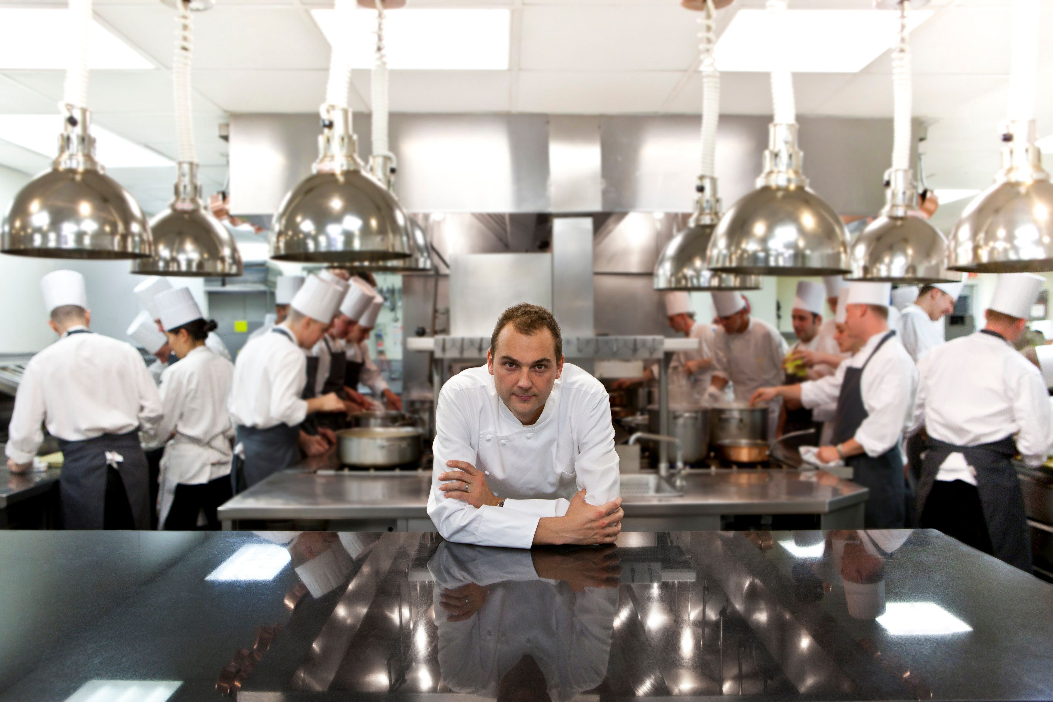 Chef Daniel Humm in the kitchen of Eleven Madison Park in New York.