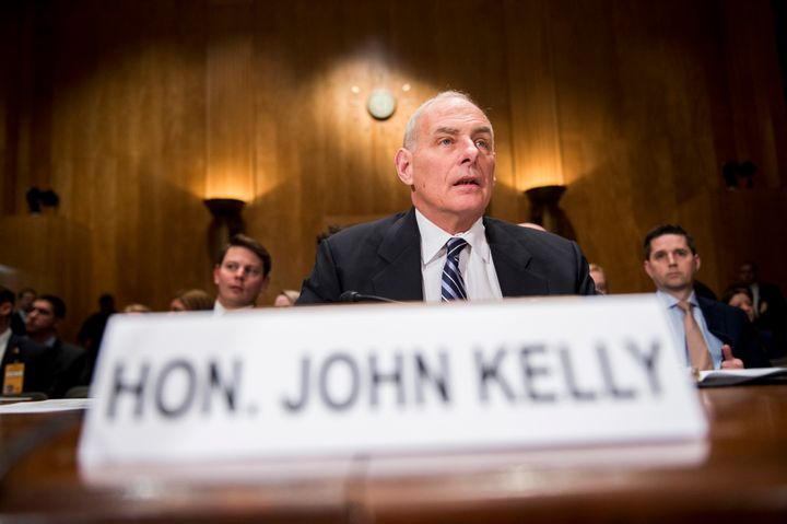 Secretary of Homeland Security John Kelly prepares to testify during the Senate Homeland Security and Governmental Affairs Co