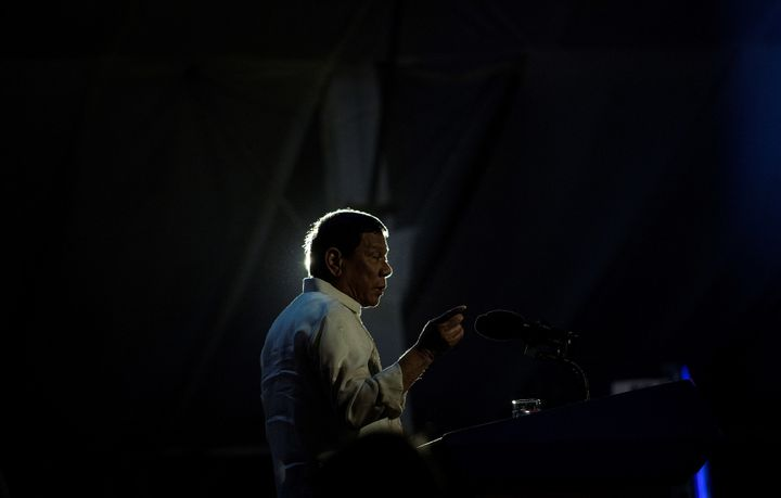 Duterte delivers a speech in the province of Palawan in the Philippines on March 30.
