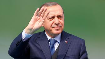 BURSA, TURKEY - APRIL 5: Turkish President Recep Tayyip Erdogan gestures during a mass opening ceremony at Bursa Ataturk Stadium in Bursa, Turkey on April 5, 2017.  (Photo by Murat Kaynak/Anadolu Agency/Getty Images)