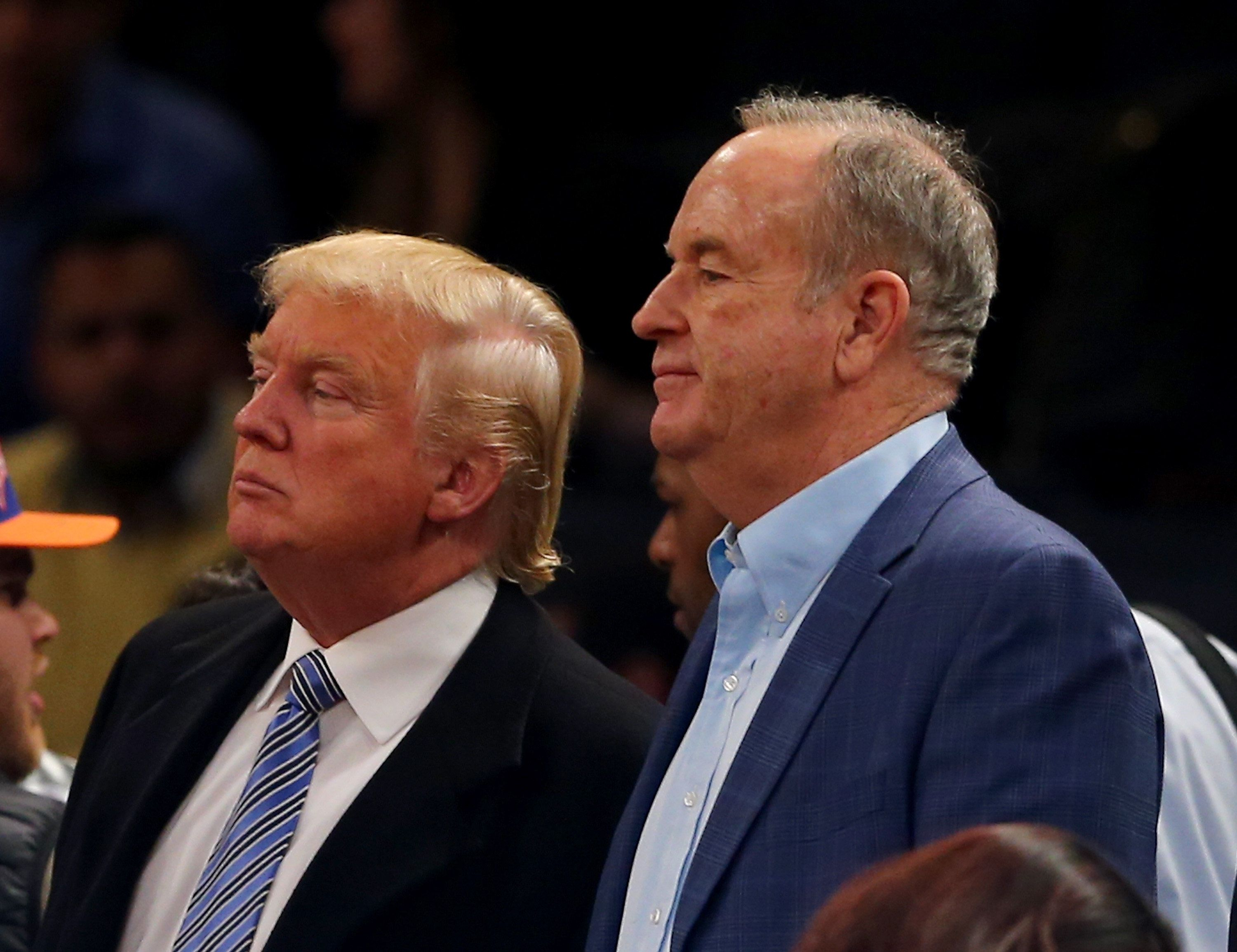 Donald Trump and Bill O'Reilly, pictured at a basketball game in New York in