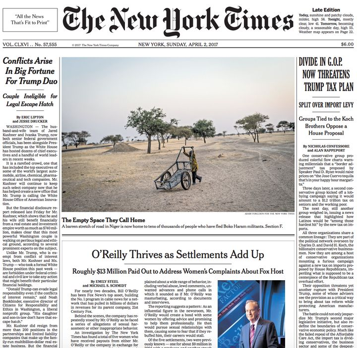 The New York Times placed its Bill O'Reilly investigation across the front page of Sunday's paper.