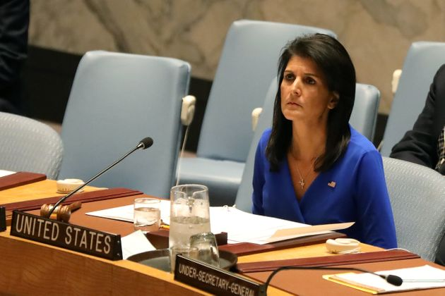 U.S. Ambassador to the United Nations Nikki Haley sits during a meeting at the United Nations Security...