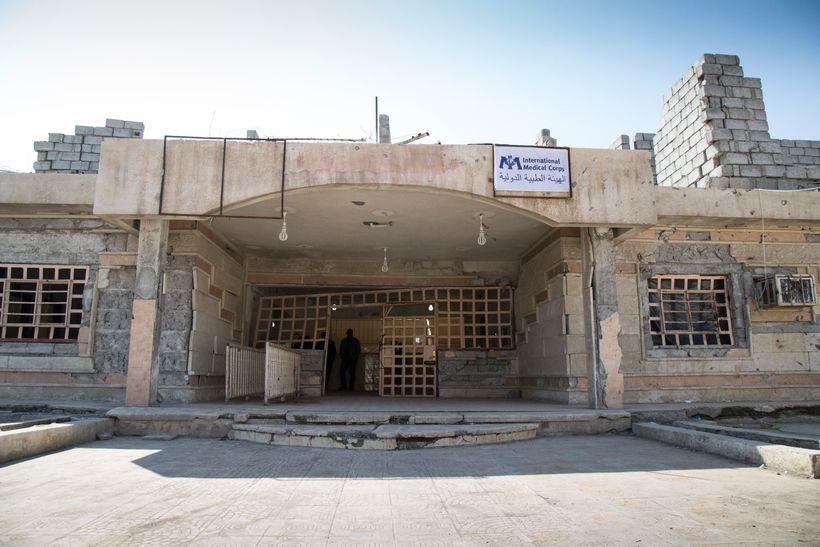 The Qariha primary health clinic in northeastern Mosul was hit by a car bomb earlier this year, which damaged the front of th
