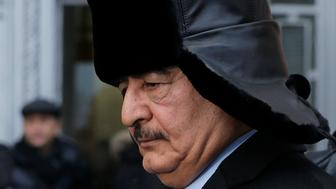 General Khalifa Haftar, commander in the Libyan National Army (LNA), gets into a car as he leaves after a meeting with Russian Foreign Minister Sergei Lavrov in Moscow, Russia, November 29, 2016. REUTERS/Maxim Shemetov