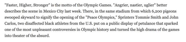 Excerpt from Time magazine piece written after the initial 1968 Olympics