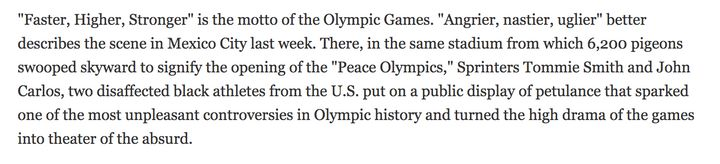 Excerpt from Time magazine piece written after the initial 1968 Olympics protest.