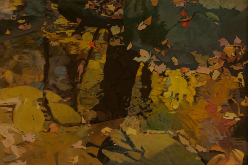 Ralph L. Wickiser, <em>Yellow Reflections</em>, 1983, oil on Linen, 40 x 60 inches