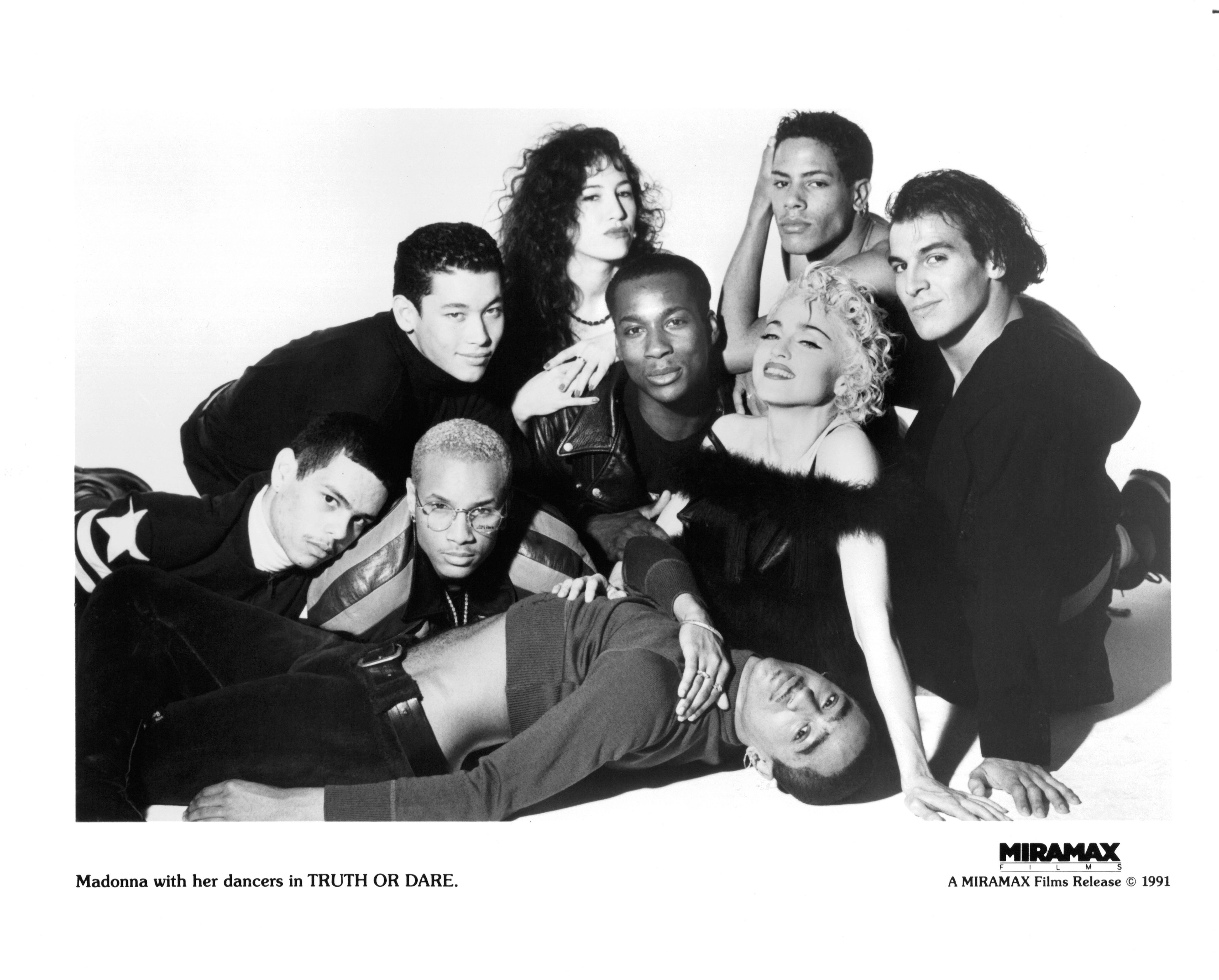 "The Blond Ambition dancers, photographed with Madonna for ""Truth or Dare."""