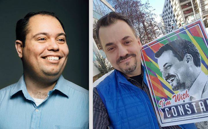 Felix Rivera, left, and Christopher Constant, right, are the first openly-gay officials ever elected in Anchorage, Alaska.&nb