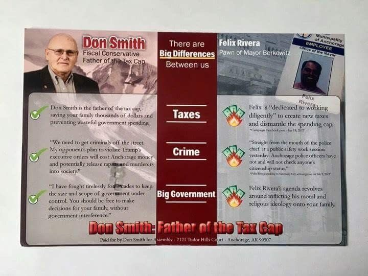 An attack mailer sent by Don Smith, the longtime public official, who lost to Felix Rivera in the Anchorage municipal electio