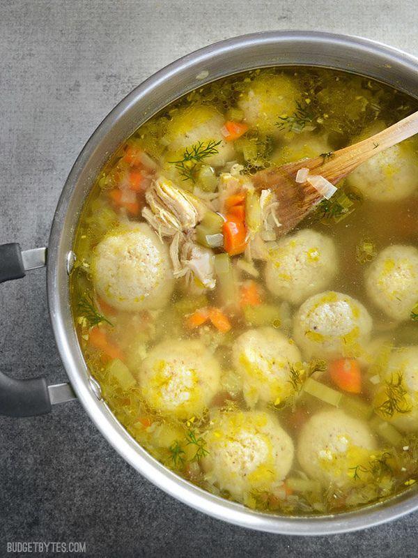 """<strong>Get the <a href=""""https://www.budgetbytes.com/2015/10/matzo-ball-soup/"""" target=""""_blank"""">Matzo Ball Soup recipe</a>&nbs"""