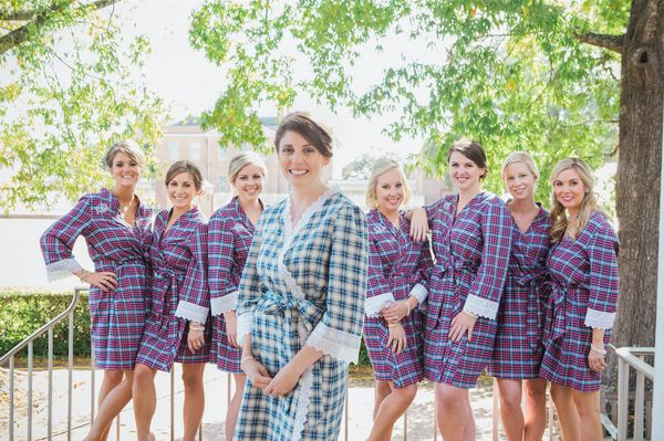"""<i>Robes by <a href=""""https://www.etsy.com/shop/ChezBlanc"""" target=""""_blank"""">ChezBlanc</a>,$300 for a set of 5</i>"""