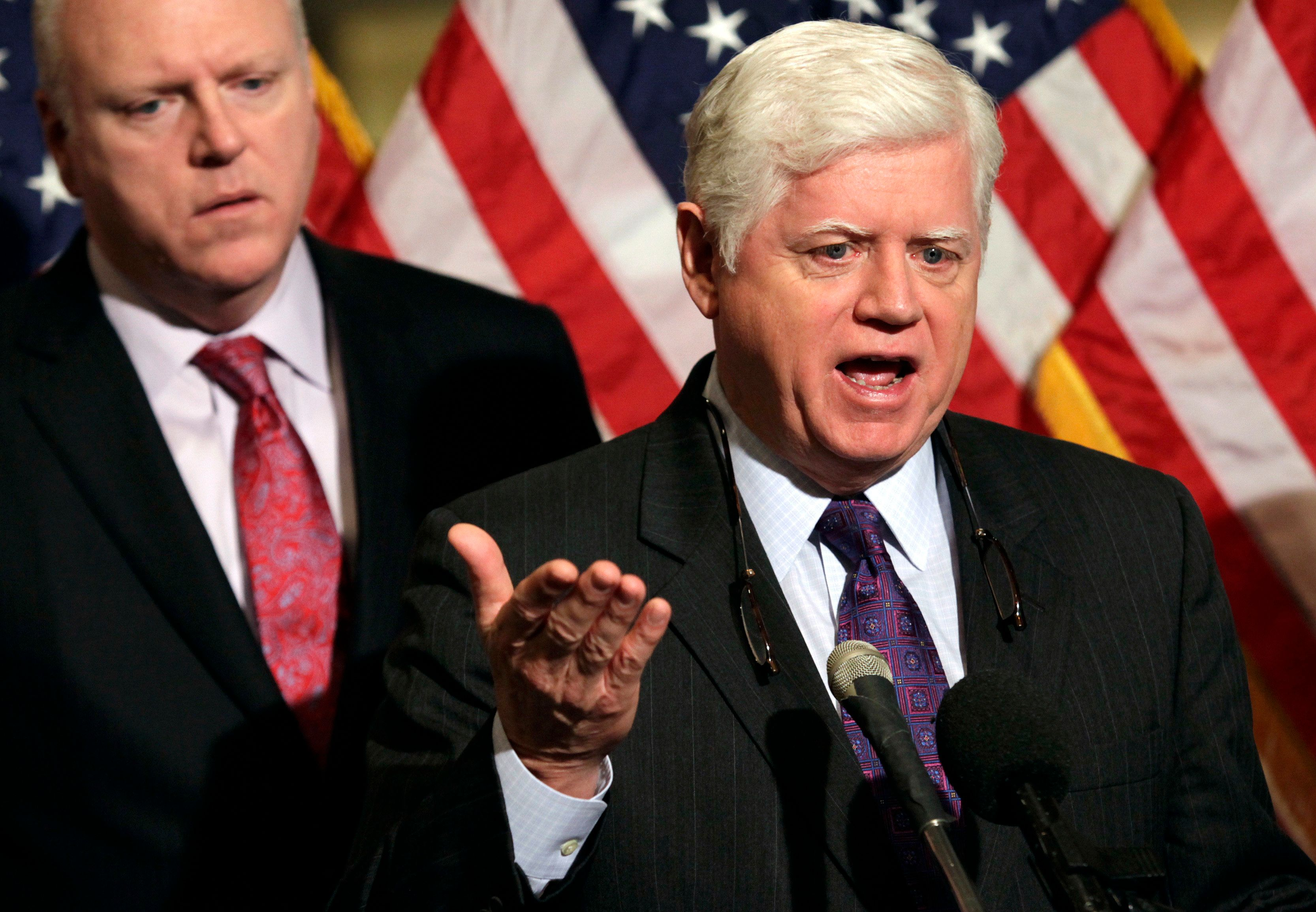 Rep. John Larson (D-Conn.), seen speaking to the media in 2012, introduced legislation to expand Social Security on Wedn